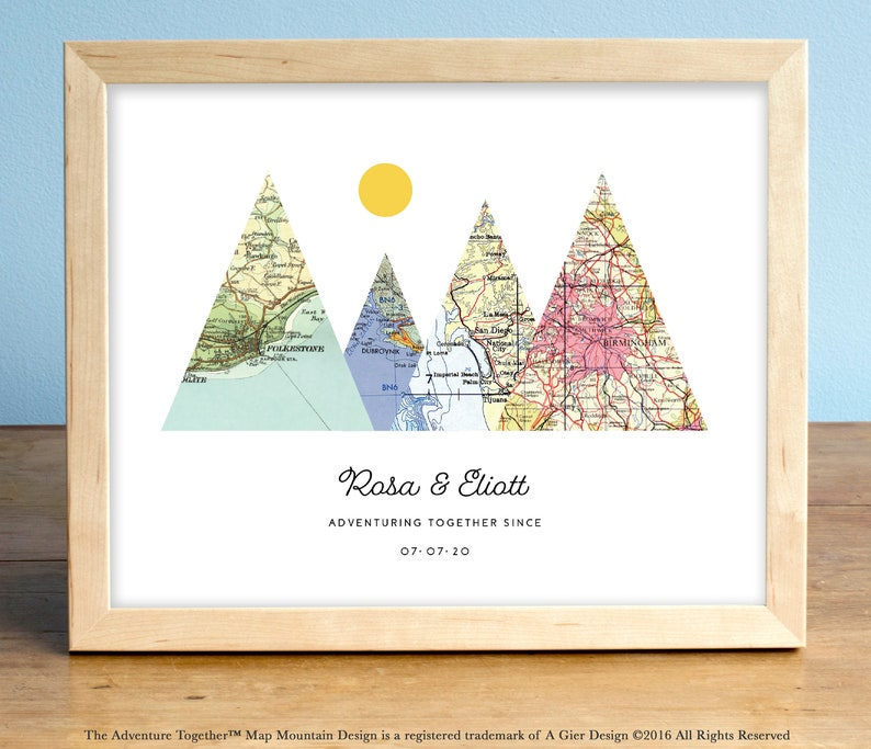 Adventure Together™ Map Mountain Print featuring 4 custom image 0