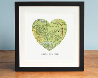 Map of Queens NY, Heart Map, Queens New York Map, Vintage Map, Antique Map Art, Personalized Map Art, Valentines Day