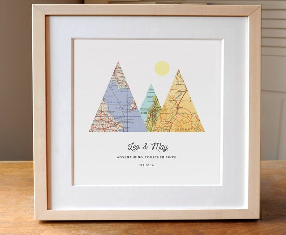 Monogrammed Wedding Gifts Couple: Adventure Together Map Mountain Personalized Wedding Gift