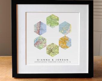 Geometric Map Art Wedding Gift, 6 Custom Maps, Wedding Gift, Anniversary Print, Gift for Couple, Wedding Map Art