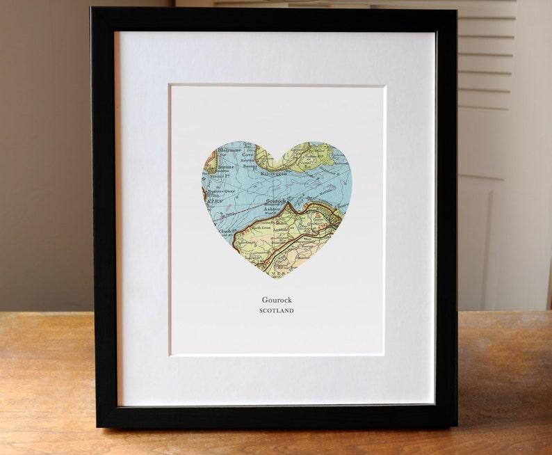 Scotland City Heart Map Print, Gourock Scotland Map Art, Scotland Map Gift,  Heart Map Print, Gift for Friend, Anniversary gift