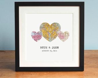 3 Heart Map Print, 3 Maps, Personalized Map Art, Wedding Gift Art, Custom Anniversary Print, Gift for Couple