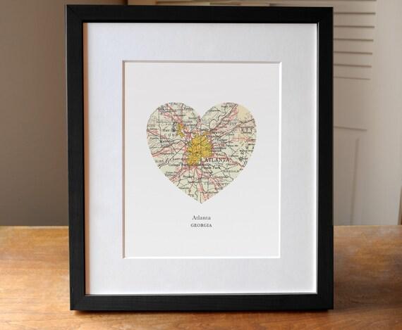 Atlanta Georgia Map Heart Print GA Print Heart Map Print | Etsy
