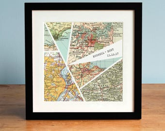 Wedding Gift, Anniversary Gift, Modern Personalized Map Art, 6 Map Design, Broken Glass Print, Personalized Map Art, 6 Maps