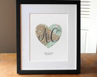 Custom Wedding Print, Wedding Map and Monogram Art, Wedding Gift Art