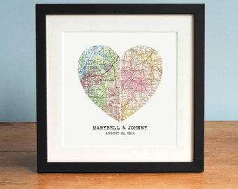 Heart Map, Custom Wedding Gift, Anniversary Gift, Wedding Gift Art, Anniversary Print, Gift for Couple, Wedding Map Art