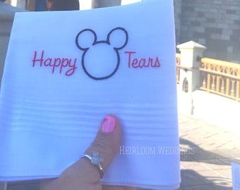 Happy Tears Disney Wedding Handkerchief Embroidered Monogrammed Mickey Mouse custom handkerchief hankie gift