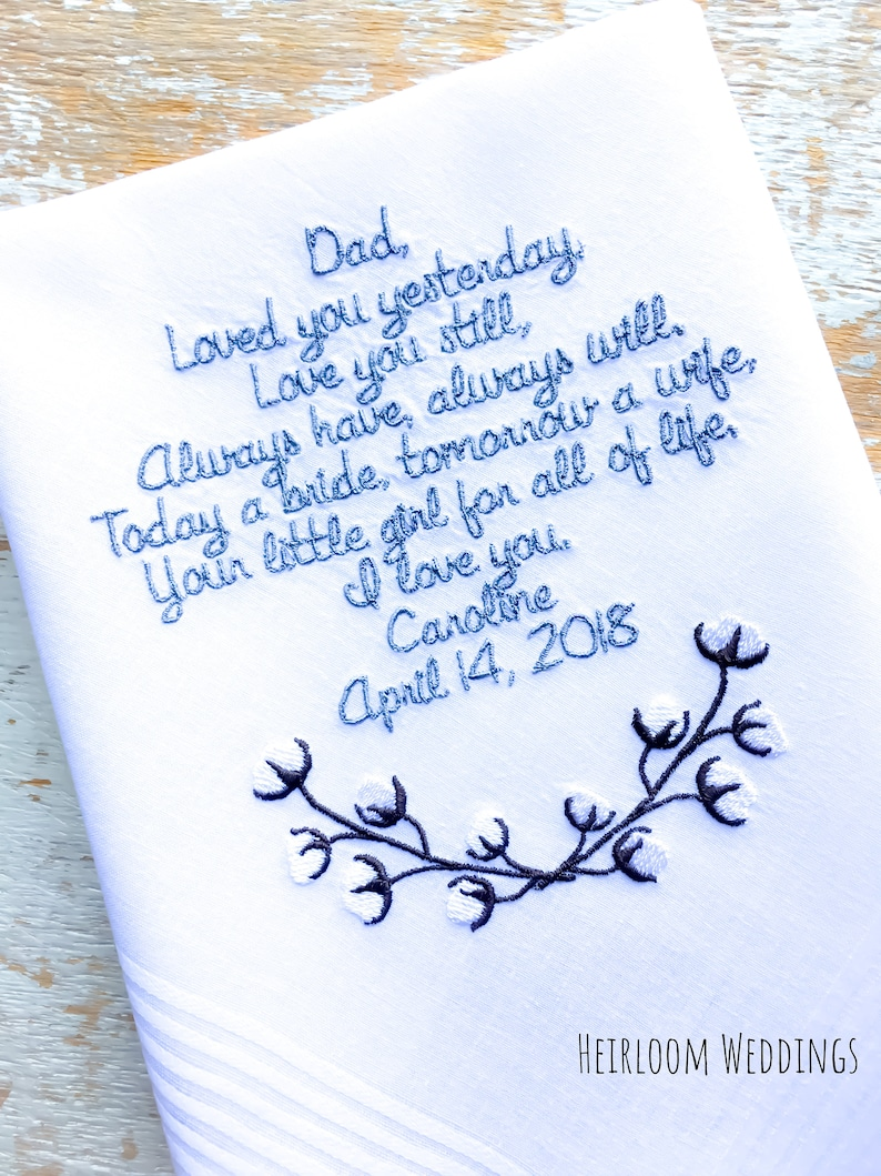 Father of the bride gift Embroidered Wedding Handkerchief Monogrammed custom DAD from BRIDE heirloom handkerchief custom personalized embroi