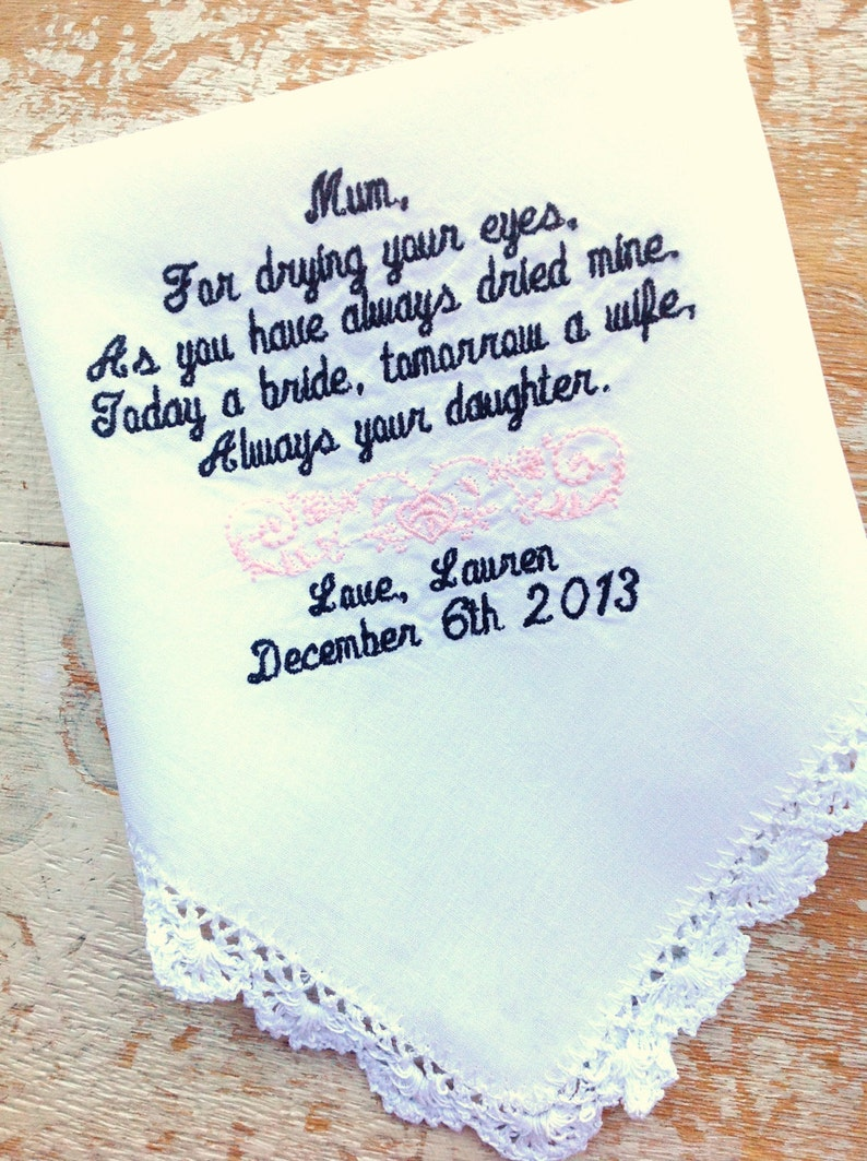 Embroidered Wedding Handkerchief Monogrammed custom handkerchiefs Mother from Bride
