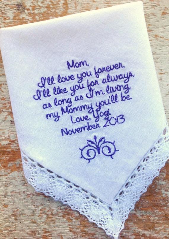 embroidered wedding handkerchief handkerchiefs monogrammed