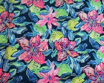 aecdc7bf7fd02f 1 Yard Capri Soleid Cotton Poplin Fabric Lilly Pulitzer BTY