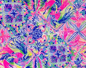 1ba8528f22e1ef 1 Yard Dancing In The Deck Cotton Dobby Fabric Lilly Pulitzer BTY