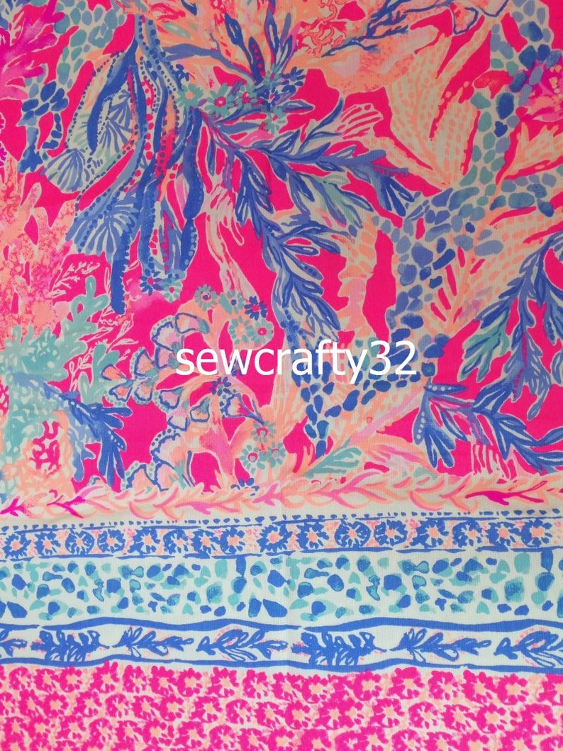 1 Panel Aquadesiac Engineered Cotton Dobby Fabric Lilly 39/'/'