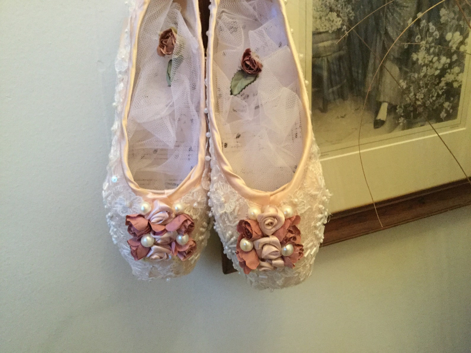 ballet shoes. decorated ballet shoes.