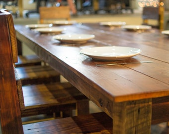 Reclaimed Farm House Table Set with Chairs
