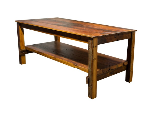 Reclaimed Kitchen Table with Shelf