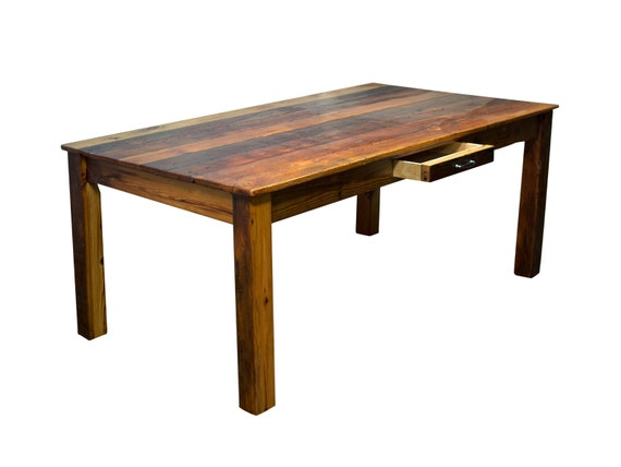 Reclaimed Kitchen Table With Drawer