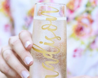 Personalized Champagne Flutes - Bachelorette Party Gift - Bridesmaids Champagne Glasses - Wedding Favor - Wedding Party - Bridesmaid Gift