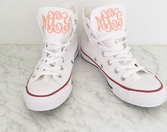 66751ebd04adae HIGH TOP Women s Monogrammed Converse White Pink Navy Charcoal