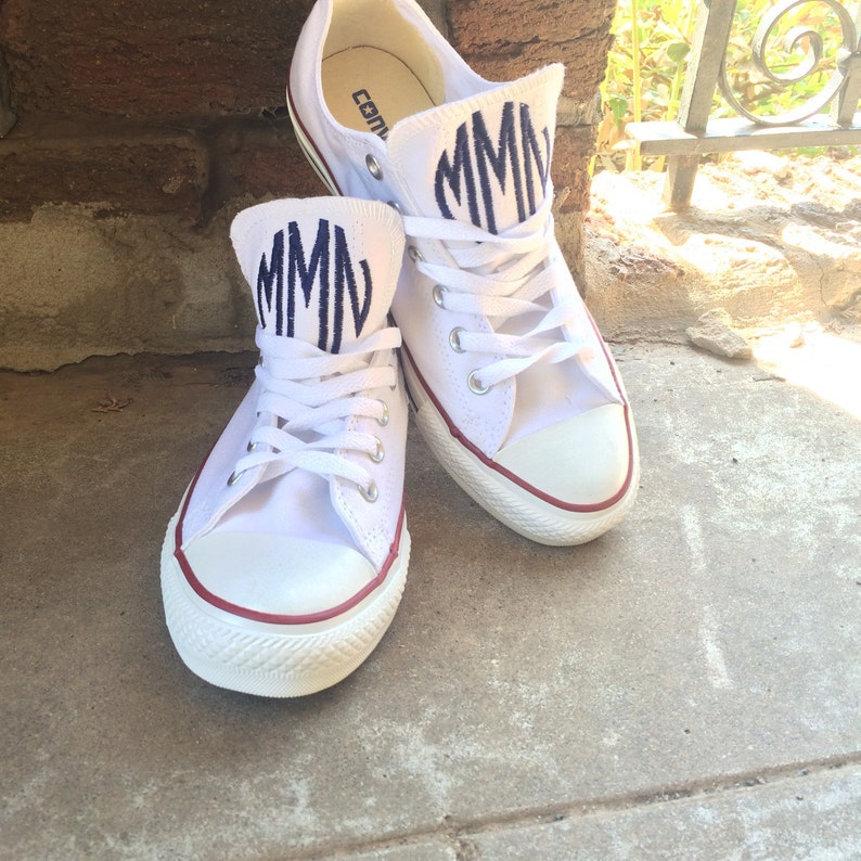 31f993a0754104 Women s Monogrammed Converse White Pink Navy Charcoal