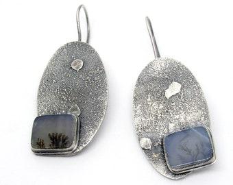 Dendritic Agate Earrings, Dangle Earrings, Fossil Earrings