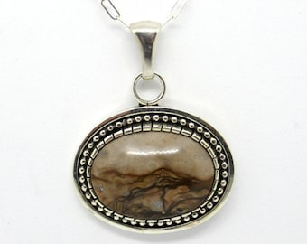 Biggs Picture Jasper Necklace. Sterling Silver, Landscape jasper, Mountain landscape necklace