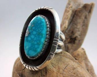 Southwestern Turquoise Ring, Size 7, Large Ring, Kingman water-web Turquoise, Sterling Silver, Shadowbox Ring, Rare Turquoise ring