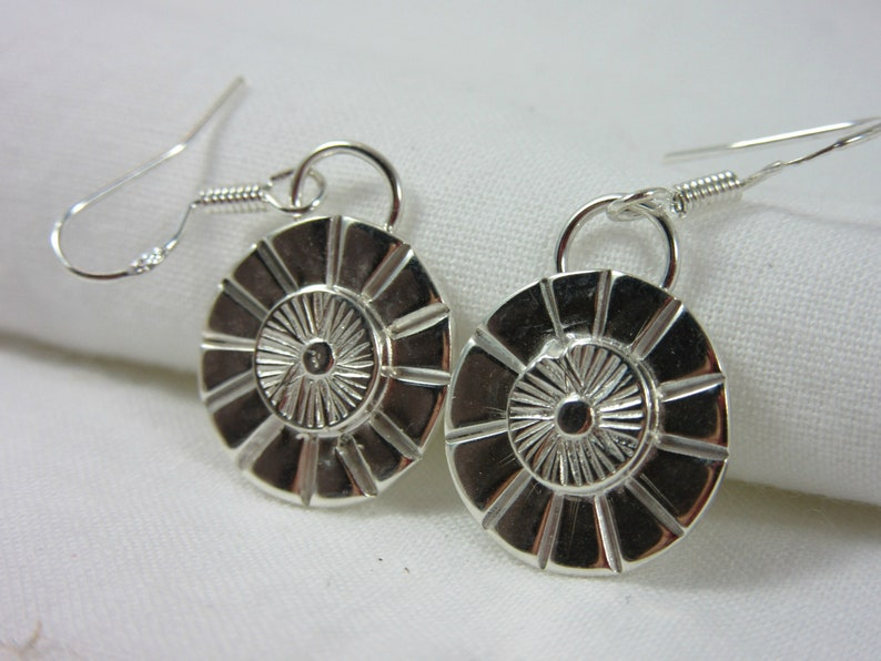 Sunburst Earrings Sterling Silver Hand stamped image 0