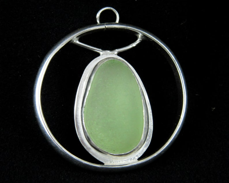 Coke bottle green Sea Glass and Sterling Silver Necklace image 0
