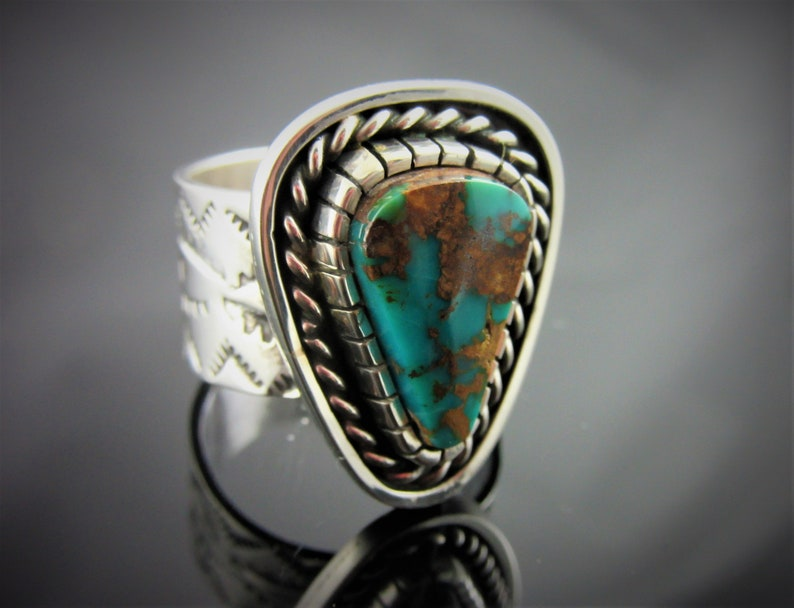 Turquoise and Sterling Silver Ring Size 8-1/2. Pilot Mountain image 0