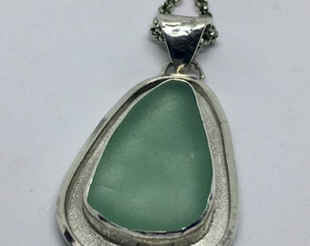 Seafoam Green Sea Glass Statement Necklace
