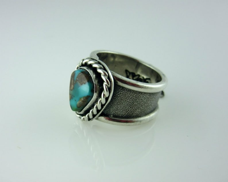 Pilot Mountain Turquoise and Sterling Silver Ring Size 5.5 image 0