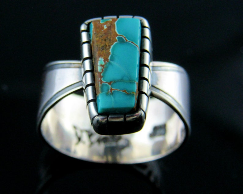Turquoise and Sterling Silver Ring Size 8.  Pilot mountain image 0