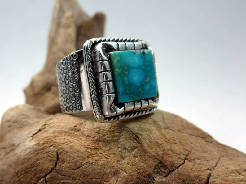 Water Dragon Ring Turquoise and Sterling Silver size 7 1/4 image 0