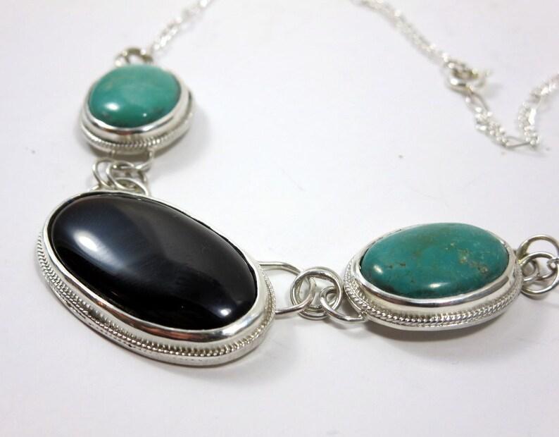 Black Onyx & Turquoise  Necklace Statement necklace Black image 0