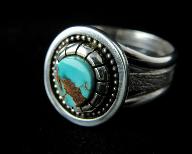 Pilot Mountain Turquoise Ring Size 10.  sterling Silver. image 0