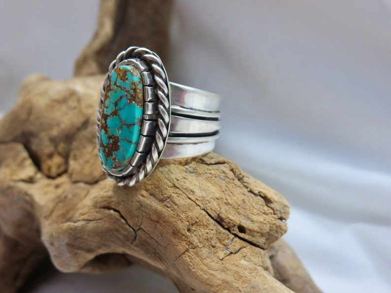 Pilot Mountain Turquoise Ring Size 7.75.  sterling Silver. image 0