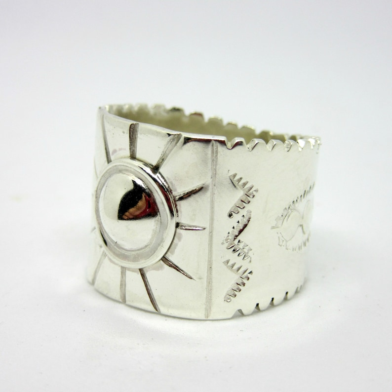 Southwestern Ring Sterling Silver hand stamped silver cigar image 0
