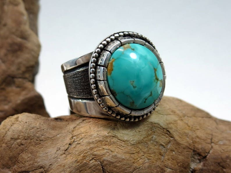 Turquoise and Sterling Silver Ring size 6-1/2 Compass mine image 0