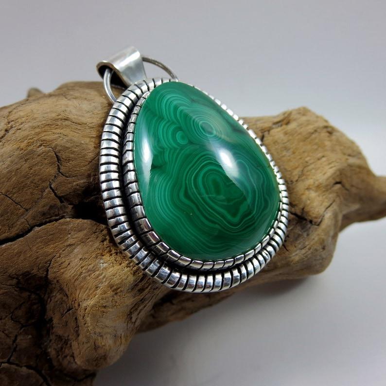 Malachite & Sterling Silver Necklace Pendant statement image 0