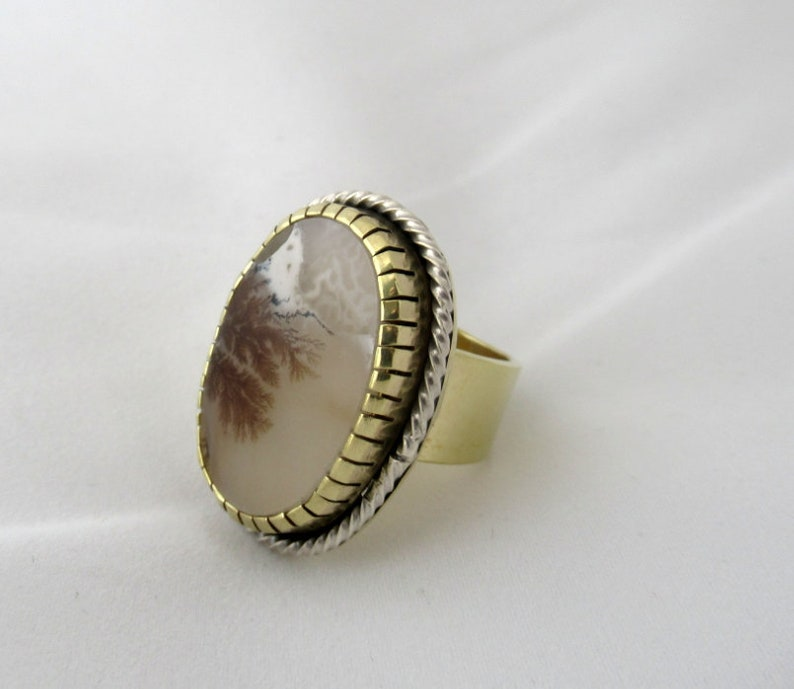Dendritic Agate Ring Brass and Sterling silver Agate ring image 0