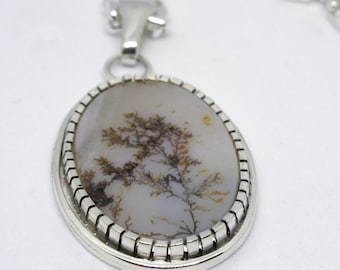 Dendritic Agate Necklace, Sterling silver, Agate Necklace, Fossil Dendrite Pendant