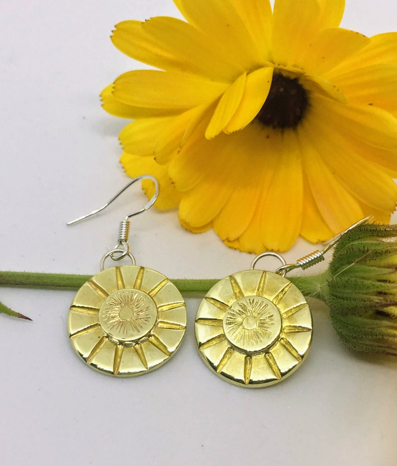Sunburst Earrings Polished Brass Hand stamped Southwestern image 0