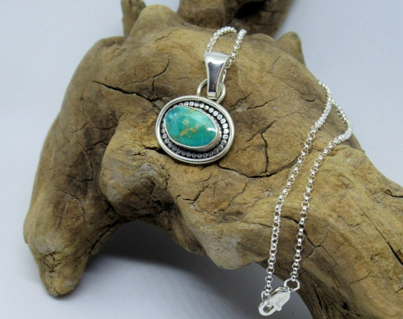 Turquoise pendant Necklace sterling silver and Natural Pilot image 0
