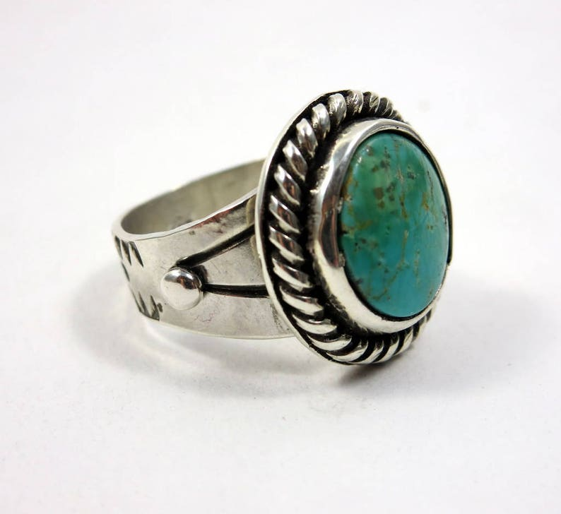 Turquoise and Sterling Silver Ring size 8.25  8.5 Compass image 0