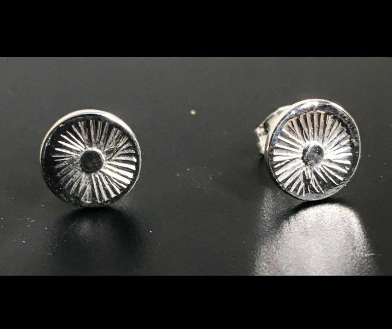 Sunburst earrings sterling silver stud earrings handcrafted image 0