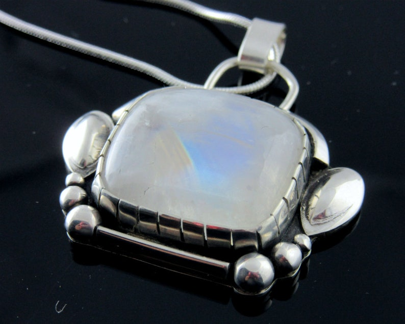 Moonstone and Sterling silver pendant necklace image 0