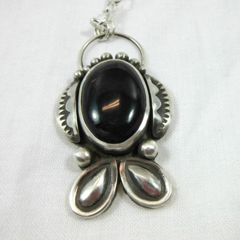 Black Onyx & Sterling silver Pendant Necklace Black gemstone image 0
