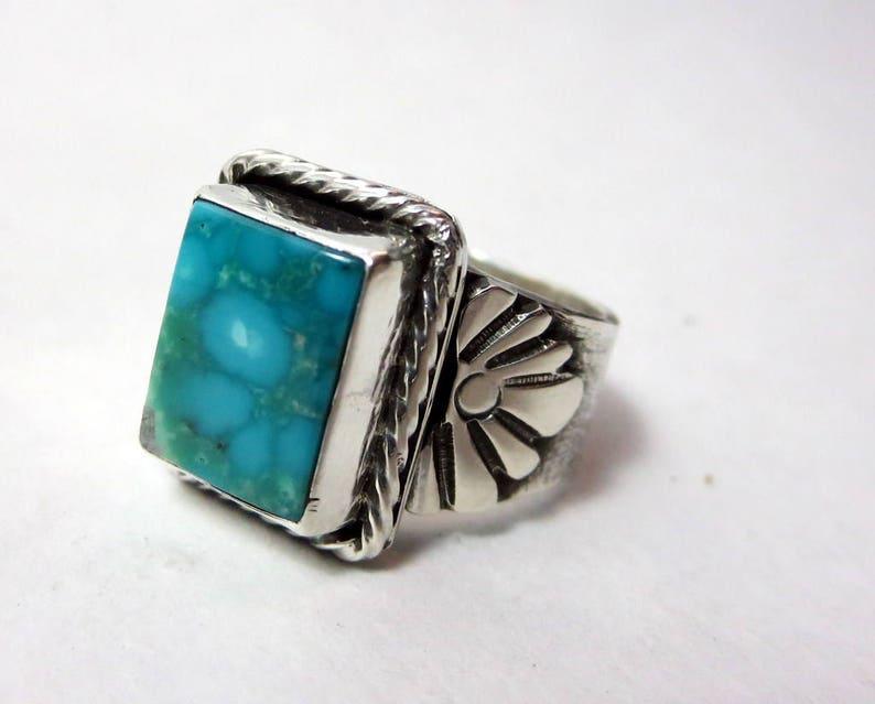 Turquoise Statement Ring Size 8.5 Kingman water web image 0