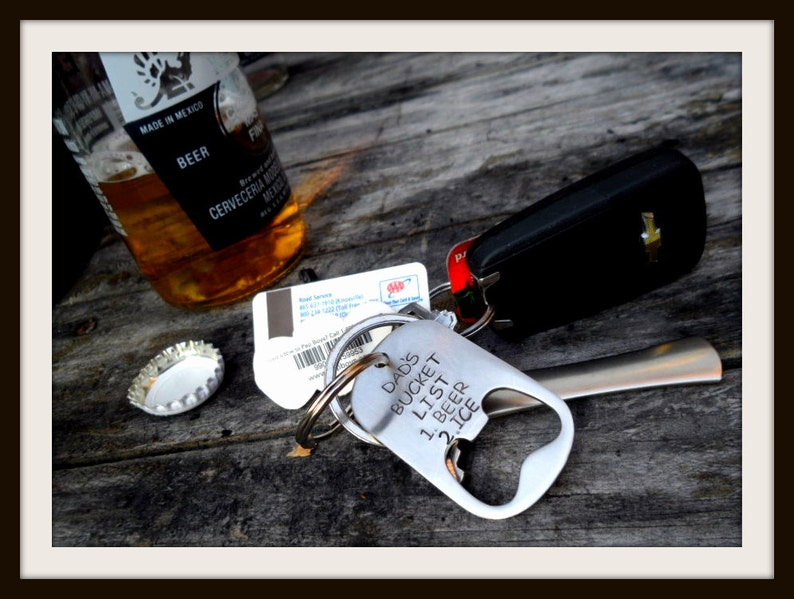 Silver with Black Letters Hand Stamped Stainless Beer Bottle Opener Keychain